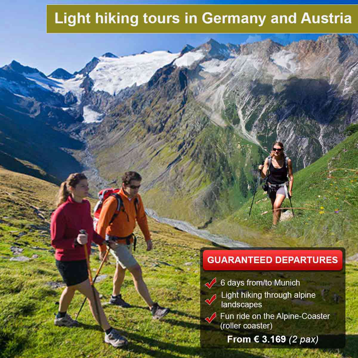 Light hiking tours in Germany and Austria